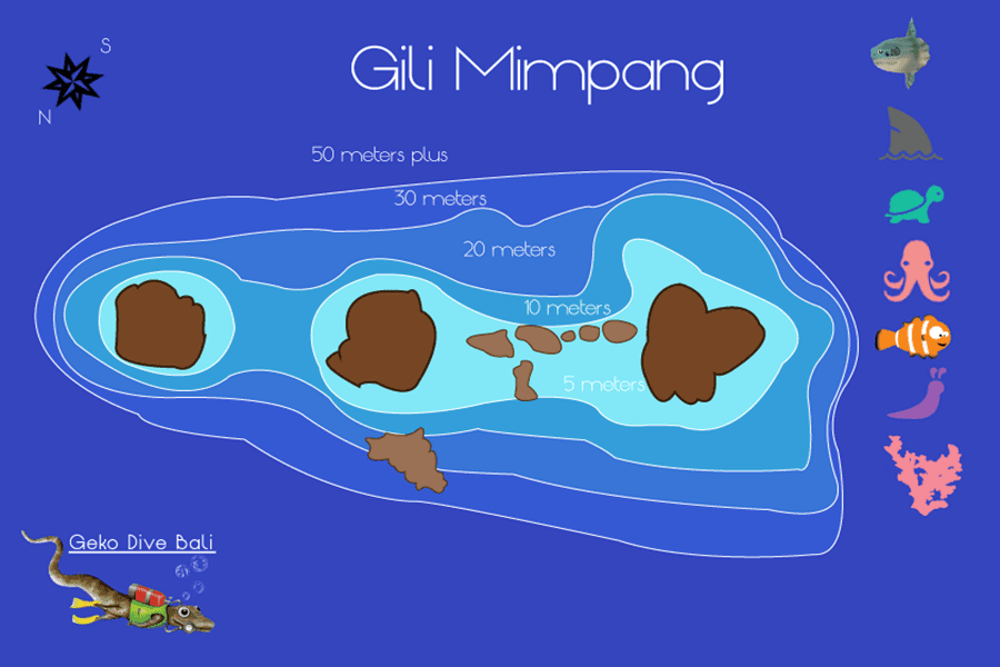 map of gili mimpang wall and shark junction scuba dive sites geko 900px