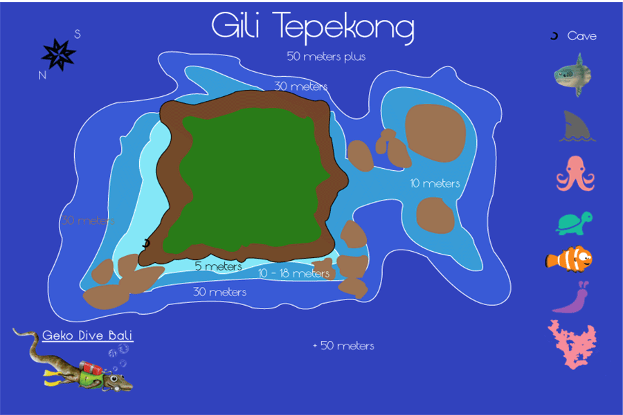 map of gili tepekong wall and shark point canyon scuba dive sites geko 900px