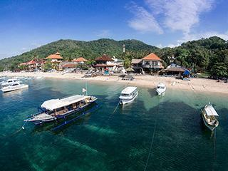 aerial drone photography bali padang bai bay beachfront harbour geko dive diveshop boats 320px
