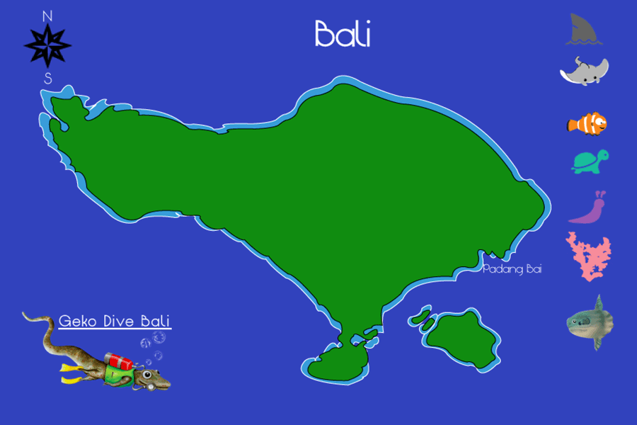 Map Of Bali Scuba Dive Sites 900px