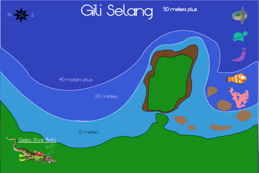map of gili selang wall and northern bay scuba dive sites geko 900px