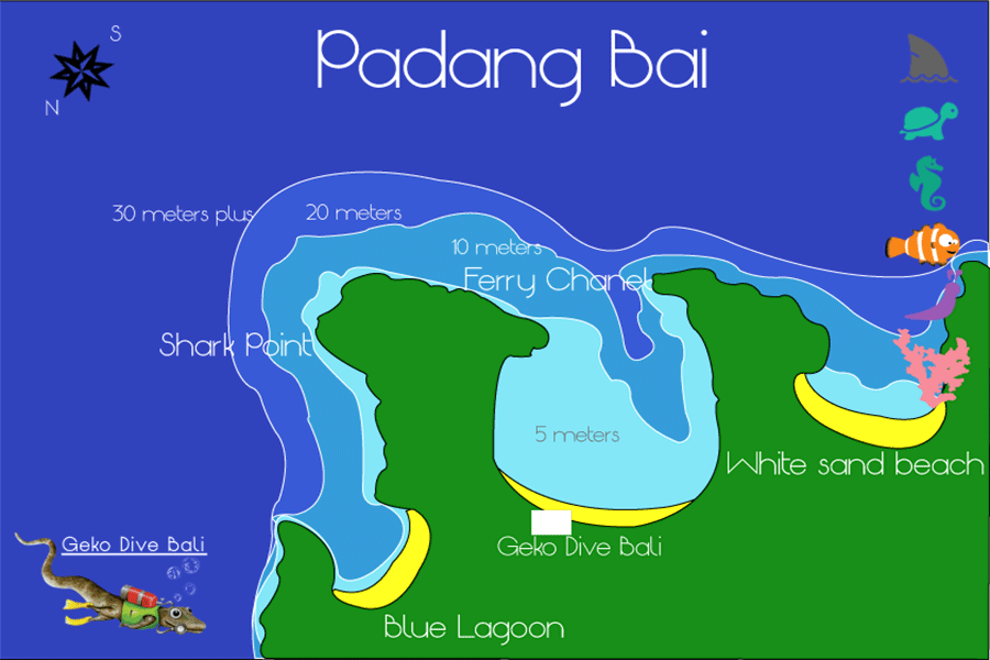 Map Of Padang Bai Blue Lagoon Shark Point Jepun Ferry Channel Drop Off Scuba Dive Sites Geko 900px