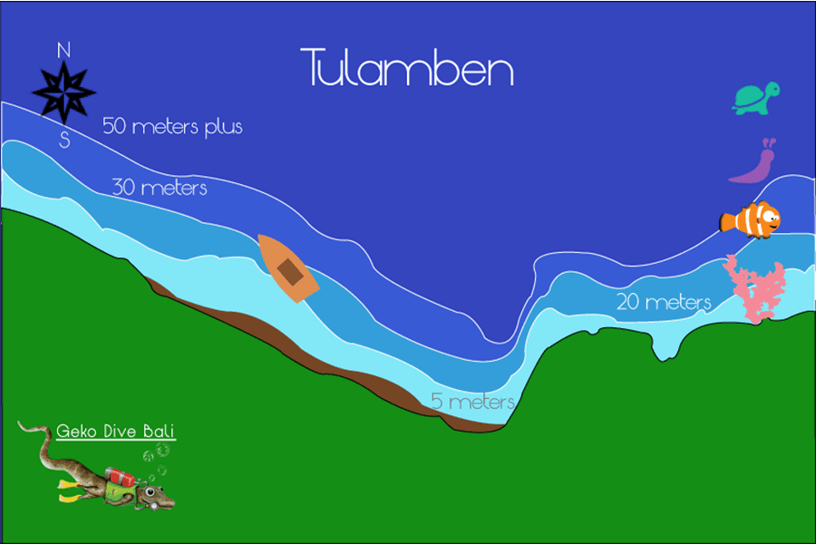 Map Of Tulamben Usat Liberty Shipwreck Coral Garden Drop Off Scuba Dive Sites Geko 900px