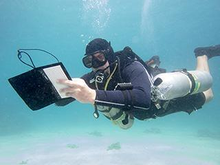 Scuba Diver Underwater Padang Bai Bay Bali Indonesia Sidemount Notebook Blue Lagoon 320px