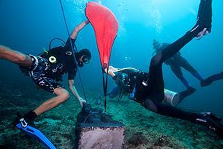 padang bai bali statue garden artificial reef coral restoration divers lift bag rope 320px